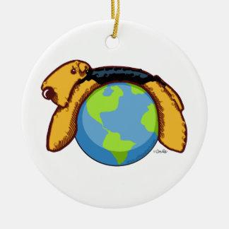Airedale World Round Ceramic Ornament