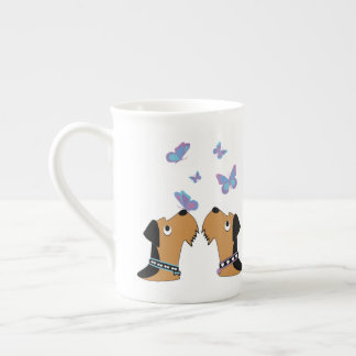 Airedales and Butterflies Tea Cup