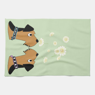 Airedales and Daisies Kitchen Towel