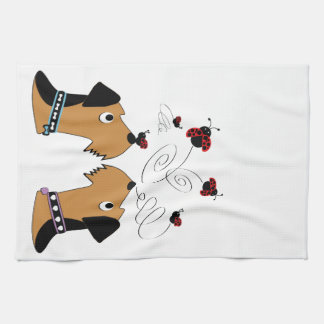 Airedales and Ladybirds Kitchen Towel