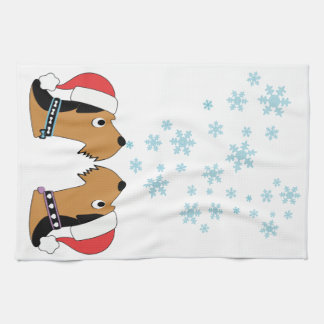 Airedales and Snowflakes Kitchen Towel