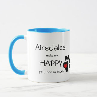 Airedales Make Me Happy paw print & heart Mug