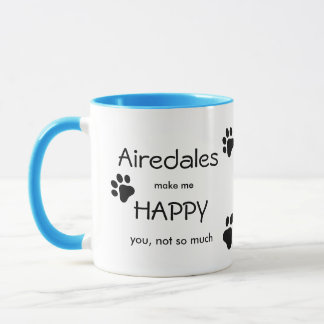 Airedales Make Me Happy with all over paw print Mug