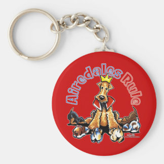 Airedales Rule Basic Round Button Keychain