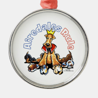 Airedales Rule Silver-Colored Round Ornament