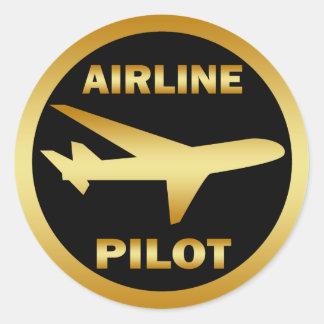 AIRLINE PILOT CLASSIC ROUND STICKER