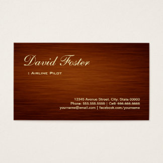 Airline Pilot - Wood Grain Look Business Card