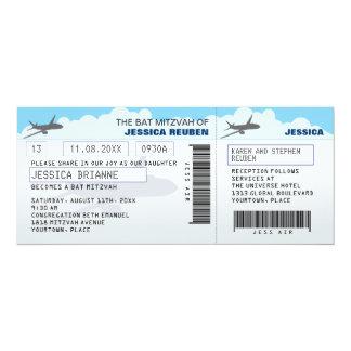 """Airline Ticket Bar Bat Mitzvah 4"""" X 9.25"""" Invitation Card"""