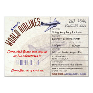 Airline Ticket Bon Voyage Party Invitation