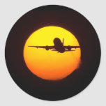 AIRLINER SILOUETTE ROUND STICKERS