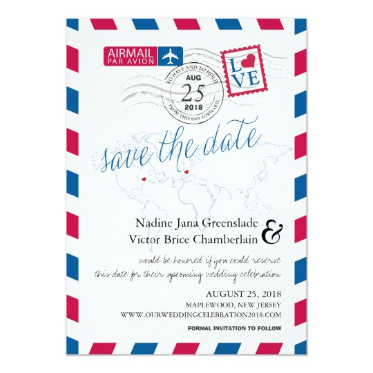 Airmail Heart New Jersey and France Save the Date Card