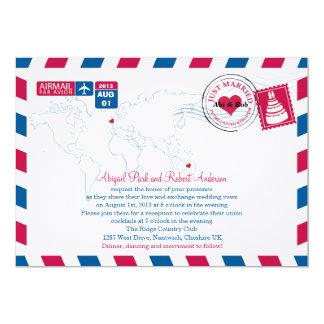 Airmail Heart UK and Austraila Wedding Card