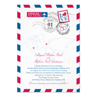 Airmail Heart UK and Missouri USA Wedding Card