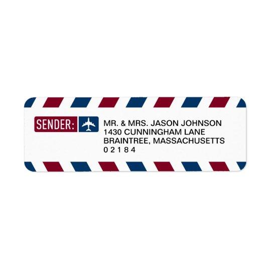 Airmail RETURN ADDRESS Mailing Return Address Label