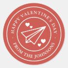 Airmail Valentine Classic Round Sticker