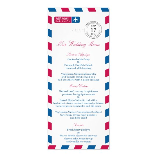 Airmail Wedding Reception Menu Card