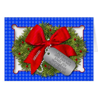 AIRMAN -  MILITARY HOLIDAY - CHRISTMAS WREATH GREETING CARDS