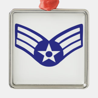 Airman Senior Class USA Airforce Silver-Colored Square Ornament
