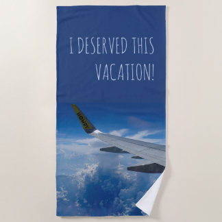 Airplane above the Clouds (customizable) Beach Towel