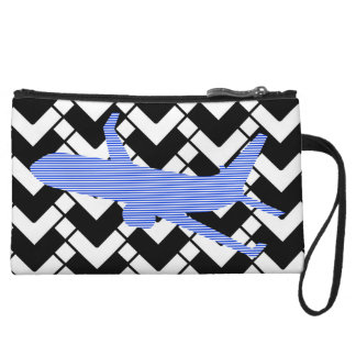 Airplane - Abstract geometric pattern - blue. Wristlet