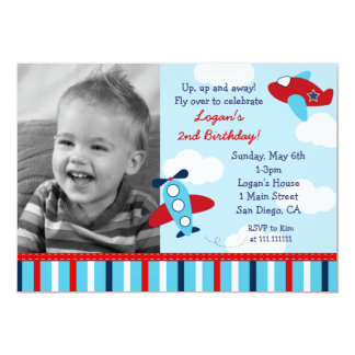 Airplane Aviator Boy Photo Birthday Invitations