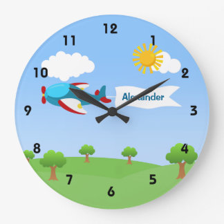 Airplane Banner Boy Wall Clocks