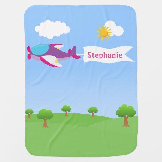 Airplane Banner Girl Baby Blanket