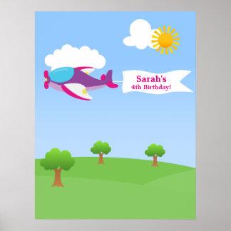 Airplane Banner Girl Birthday Poster
