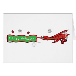 Airplane Biplane Happy Holidays Christmas Card