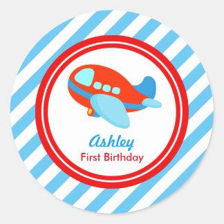 Airplane Birthday Baby Shower Classic Round Sticker