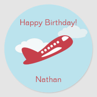 Airplane Birthday Cupcake Toppers Stickers