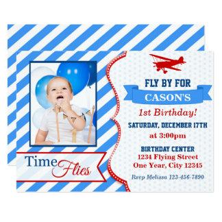 Airplane Birthday Invitation   Photo Invite