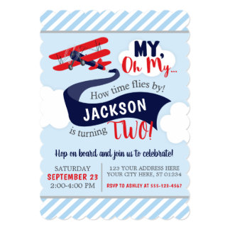 Airplane Birthday Invitation with Envelopes