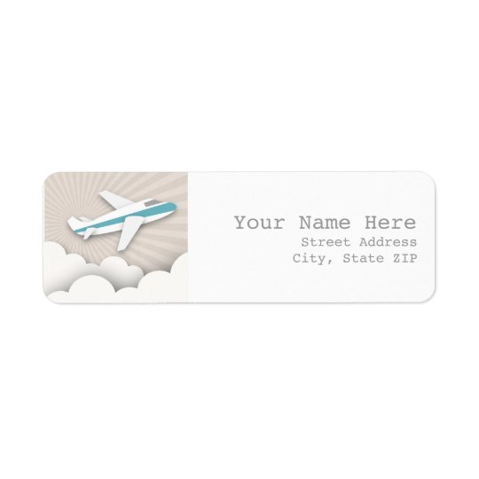 Airplane Birthday Party Address Label - Blue