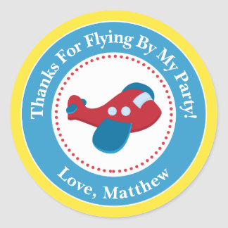 Airplane Birthday Party Favor Stickers