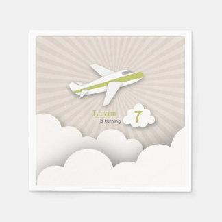 Airplane Birthday Party - Green Paper Napkin