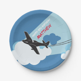 Airplane Blue Sky Clouds Birthday Paper Plates