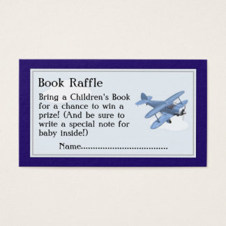 Airplane Book Raffle Tickets, Baby Shower Game Business Card