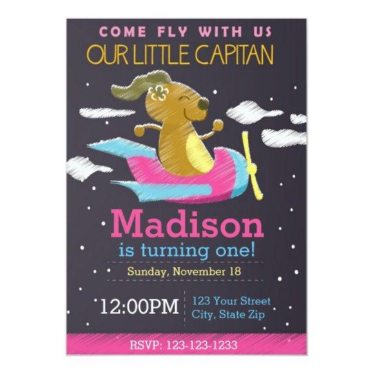 Airplane Chalkboard Birthday Invitation (pink)
