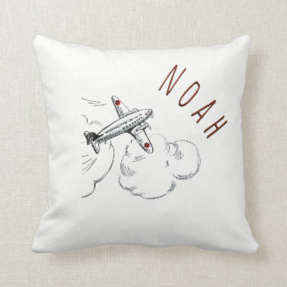 Airplane Clouds Kids Pillow Vintage Name