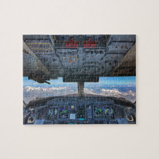 Airplane Cockpit view over the Alps Jigsaw Puzzle