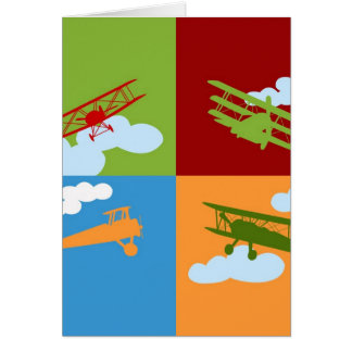 Airplane collage on blue, redm green and orange. card
