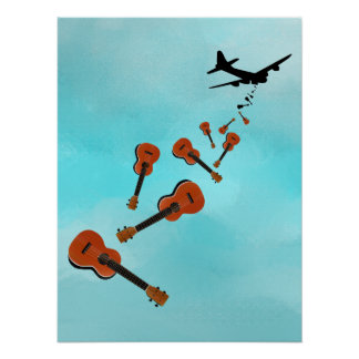 Airplane Dropping Ukuleles Poster
