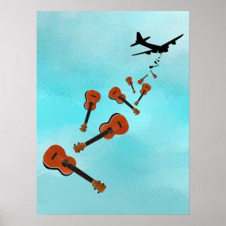Airplane Dropping Ukuleles Poster