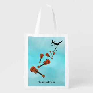 Airplane Dropping Ukuleles Reusable Grocery Bag
