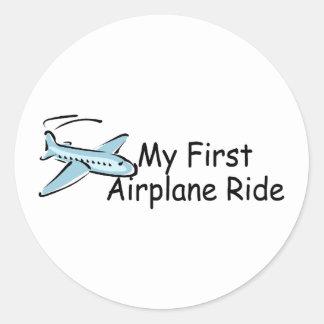 Airplane First Airplane Ride Round Sticker