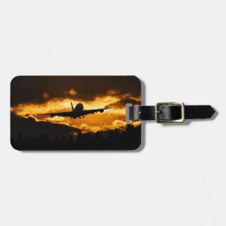 Airplane Flying at Sunset Luggage Tag
