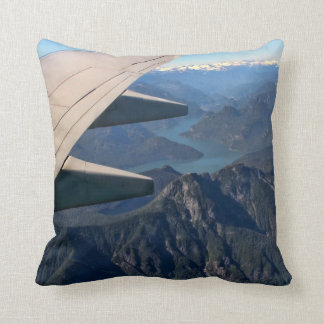 Airplane Flying Over the Rocky Mountains Throw Pillow