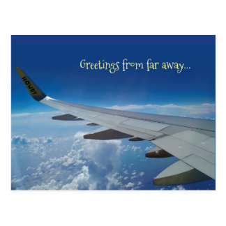 Airplane Greetings from far away (customzable) Postcard
