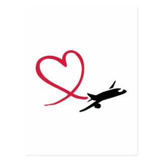 Airplane heart love postcard